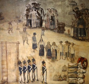 'The Basi Revolt (XIV)'; fourteenth painting in a series depicting the revolt in 1807 against the Spanish restriction on the private manufacture of Ilocano wine (sugarcane wine).