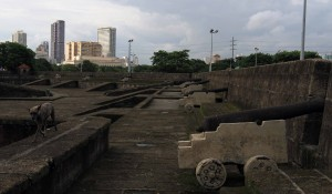 Canons placed along the southern battlement of the Intramuros city wall.