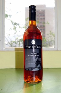 Bottle of dry red coconut wine.