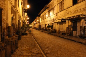Calle Crisologo at night.