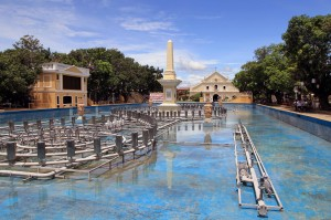 Plaza Salcedo featuring the 17th century San Juan de Salcedo monument.