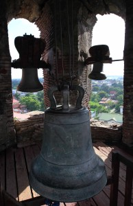 Inside the top of the belfry.