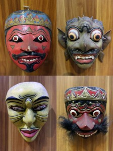 Different traditional masks from (clockwise, starting at top-left) Cirebon, Bali, Central Java, and West Java.