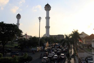 Masjid Agung Bandung with its two tall minarets dominating the skyline.