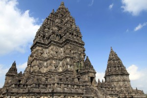 View of the main building at Candi Prambanan with another smaller building in the back.