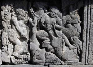 A strange relief found at Candi Prambanan.