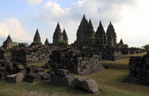 Candi Prambanan seen from the edge of the site.