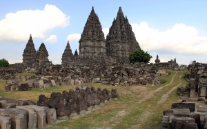 The main compound at Candi Prambanan encircled with stone ruins of smaller buildings.