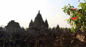 Candi Sewu - the temple compound seen in the evening.