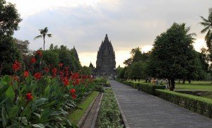 The Prambanan temple complex (or Candi Prambanan) seen from the entrance-way.