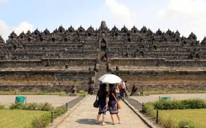 The entrance to Borobudur temple.