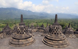 Perforated stupas at the top of Borobudur temple.