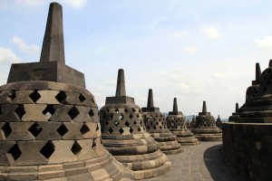 Stupas on one of the tiers near the top of Borobudur.