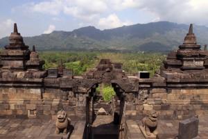 One of four entrances to the top of Borobudur.