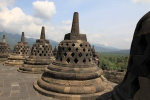 Another view of the perforated stupas.