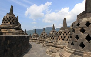 View of two tiers at the top of Borobudur temple.