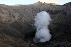 Mount Bromo belching sulfuric steam.