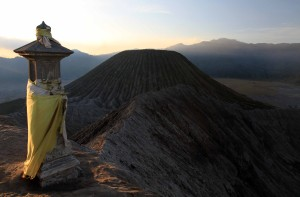Hindu monument on the edge of Mount Bromo's caldera, looking at Mount Batok.
