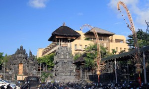 The entrance and tall pavilion to one of many Puras (Balinese Hindu Temple) found in Bali.