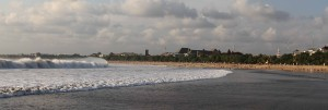 Wave coming toward the shore at Kuta Beach.