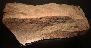 Fragment of the 'Singapore Stone' - the earliest writing found in Singapore (10th - 14th century AD).
