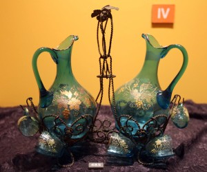 Glass wine pitchers and cups.