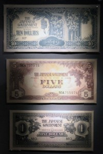Paper money used during japan's occupation of Singapore.