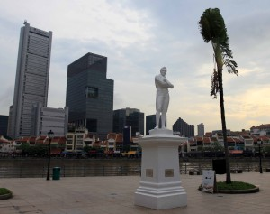 Statue marking the spot Sir Thomas Stamford Raffles landed at in Singapore on January 28, 1819.
