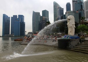 The famous Merlion spewing water from its mouth.