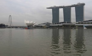 From left to right: the Singapore Flyer (world's tallest Ferris wheel), the Art and Science Museum, the Marina Bay Sands Hotel and Casino (with ship-shaped top).