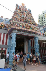 The entrance to the Sri Veeramakaliamman Temple, a Hindu temple dedicated to the Hindu goddess Kali.