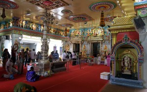 The main hall of the the Sri Veeramakaliamman Temple.
