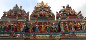 Statues adorning the roof top of the Sri Veeramakaliamman Temple.