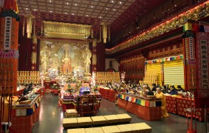 Inside the main hall of the Buddha Tooth Relic Temple.