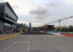 The pits along the Singapore Grand Prix track.