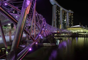 Closer view of the Helix Bridge.