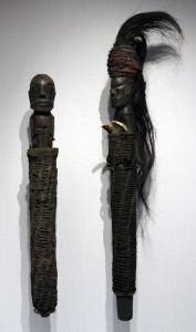 Guardian figures from the Batak culture from northern Sumatra.