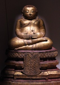 Sculpture of Phra Sangkachai; an enlightened man who became overweight to ward off unwanted advances from women.