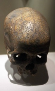 Pattern carved on a human skull from the Kayan Dayak tribe in Malaysia.