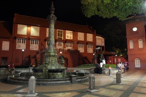The Dutch Square in Malacca, at night.