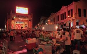 Karaoke being performed on the public stage in the Jonker Street Market.