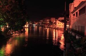 The Melaka River at night.