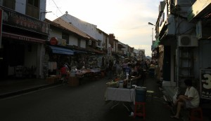 Vendors setting up in Chinatown for the Jonker Street Market tonight.