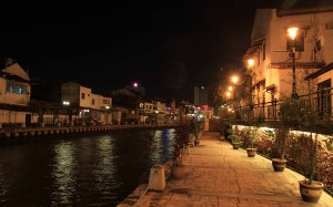 Melaka River at night.