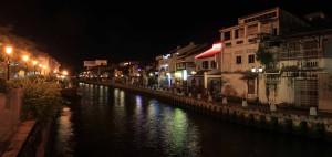Looking down the Melaka River at night.