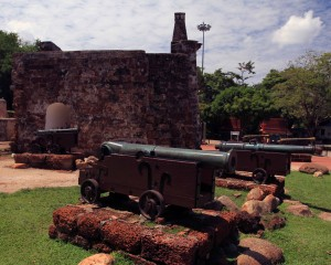 Famosa seen with adorning canons in view.