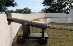 Closeup of canon in the fortress.