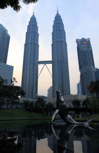 The Petronas Twin Towers seen from the pod with metallic whale sculpture.