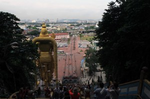 Looking toward Kuala Lumpur at the top of the steps to Batu Caves.