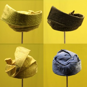 Example of four royal tengkoloks worn on the head of Malay rulers - part of the ceremonial dress.